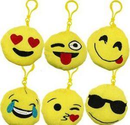 "48 Bulk 3.5"" Plush Emoji Zipper Pull Keychains"