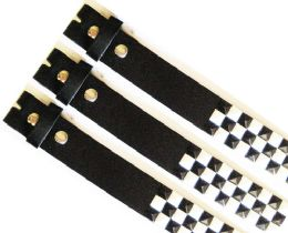 48 Bulk No Buckle Studded Black & White Belt