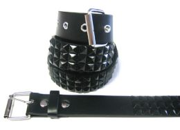 48 Bulk Pyramid Studded Black Belt