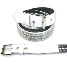 48 Bulk Pyramid Studded Grey Belt