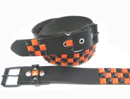 48 Bulk Pyramid Studded Black & Orange Belt