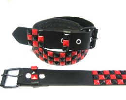 48 Bulk Pyramid Studded Black & Red Belt