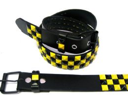 48 Bulk Pyramid Studded Black & Yellow Belt