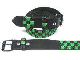 48 Bulk Pyramid Studded Black & Green Belt