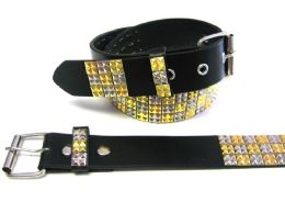 48 Bulk Pyramid Studded Gold & Beige Belt