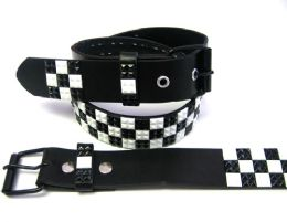 48 Bulk Pyramid Studded Black & White Belt
