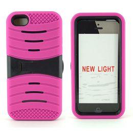 12 Bulk I Phone I5c Hybrid Case With Kick Stand /hot Pink