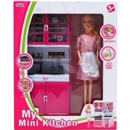 "6 Bulk 12.25"" Mini Kitchen Sink W/ 11"" Doll In Window Box"