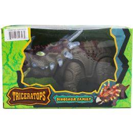"12 Bulk 14"" B/o Dino Triceratops In Window Box, 2 Asst Colors"