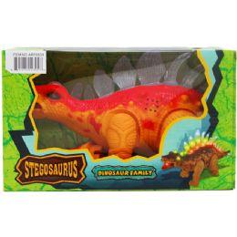 "12 Bulk 14"" B/o Dino Stegosaurus In Window Box, 2 Assorted Colors"