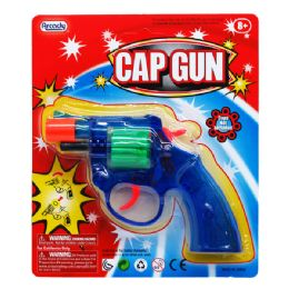"96 Bulk 6"" Clear MultI-Color Cap Toy Gun(revolver) On Blister Card"