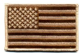 "48 Bulk Embroidered Iron On Patch, U.s. Flag - Desert, Approxiamtely 3.5"" Wide"