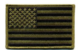 "48 Bulk Embroidered Iron On Patch, U.s. Flag - Subdued, Approxiamtely 3.5"" Wide"