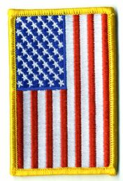 "48 Bulk Embroidered Iron On Patch, Reverse U.s. Flag, Approximately 3.5"" High"
