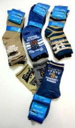 96 Bulk Boys Printed Crew Socks, Size 6 Years To 8 Years, Assorted Styles