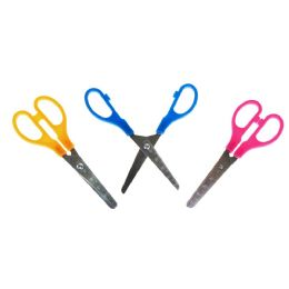 "96 Bulk Kids 5"" Long Measuring Safety Scissors In 3 Assorted Colors"