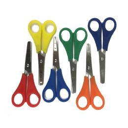 "96 Bulk 5"" Long Measuring Safety Scissors In 6 Assorted Colors"