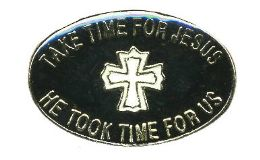 """96 Bulk Brass Hat Pin, """"take Time For Jesus - He Took Time For us"""