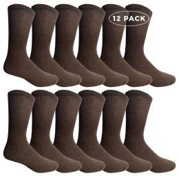 12 Bulk Yacht & Smith Men's Crew Socks Size 10-13 Brown