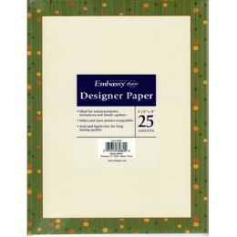 36 Bulk Green Border Invitation Paper