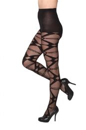 12 Bulk Black Sheer Abstract X Beverly Rock Tights One Size
