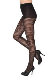 24 Bulk Black Sheer Animal Stripe Beverly Rock Tights One Size
