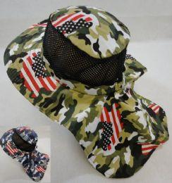 ad2cc852476e2 Wholesale Cotton Boonie Hat with Cloth Flap  Mesh   Army Camo Flag Print