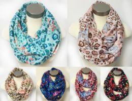 12 Bulk Floral MultI-Color Leopard Design Scarves