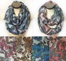 12 Bulk Wholesale Infinity Circle Floral MultI-Color Paisley Design