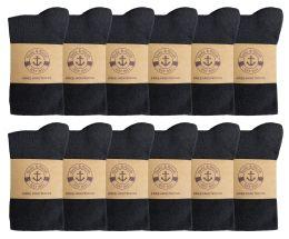 12 Bulk Yacht & Smith Women's Knee High Socks, Solid Black 90% Cotton Size 9-11