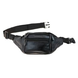 24 Bulk Black Leather Fanny Pack Belt Bag