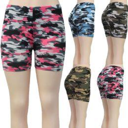 36 Bulk Women's Stretchy Shorts - Camouflage Printsts