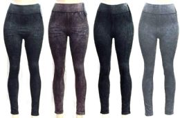 72 Bulk Women's Washed Denim Seamless Leggings - Assorted Colors - One Size Fits Most