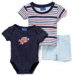 24 Bulk Newborn Boy's Shorts, T-Shirt & Onesie Set - Plane Prints - Sizes 3-12m