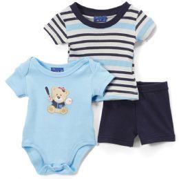 24 Bulk Newborn Boy's Shorts, T-Shirt & Onesie Set - Bear Prints - Sizes 3-12m