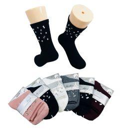 48 Bulk Ladies Fashion Socks Mirrored Gems