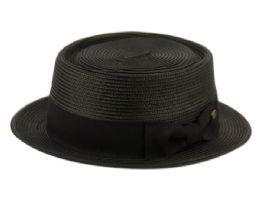 12 Bulk Poly Braid Pork Pie Hats With Grosgrain Band In Black