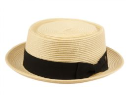 12 Bulk Poly Braid Pork Pie Hats With Grosgrain Band In Natural