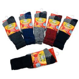 36 Bulk Men's Thermal Crew Socks 10-13 [assorted]