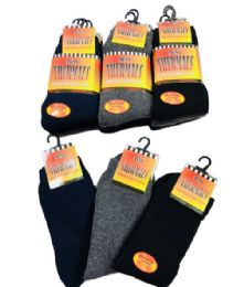 60 Bulk Mens Thermal Crew Socks Size 10-13 Assorted Colors With Brushed Interior
