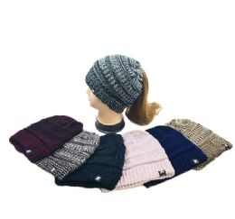 36 Bulk Knitted Pony Tail Beanie Variegated
