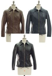 24 Bulk Faux Leather Collar Jacket Assorted