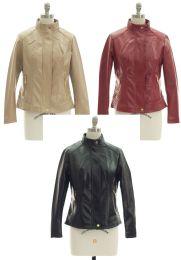 24 Bulk Mandarin Collar Faux Leather Jacket Assorted