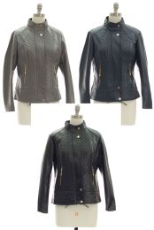 24 Bulk Women's Faux Leather Quilted Jacket
