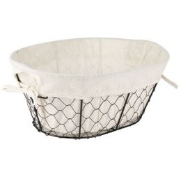 24 Bulk Wire Basket With/cotton Liner Oval 14x10x5.75 Inch Sleeve Card