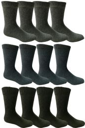 12 Bulk Yacht & Smith Men's Thermal Crew Socks, Cold Weather Thick Boot Socks Size 10-13