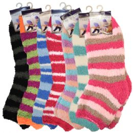 144 Bulk Fuzzy Socks Stripes Assorted Colors