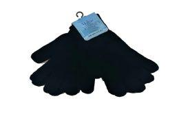 72 Bulk Mens Stretch Knit Magic Gloves Black