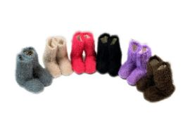 60 Bulk Ladies Colorful Fuzzy Slipper Boot With Rubber Grip