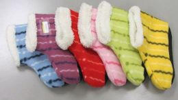 60 Bulk Ladies Striped Fuzzy Slipper Boot With Rubber Grip